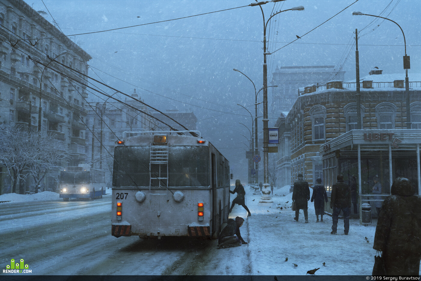 busstop, cg art, winter