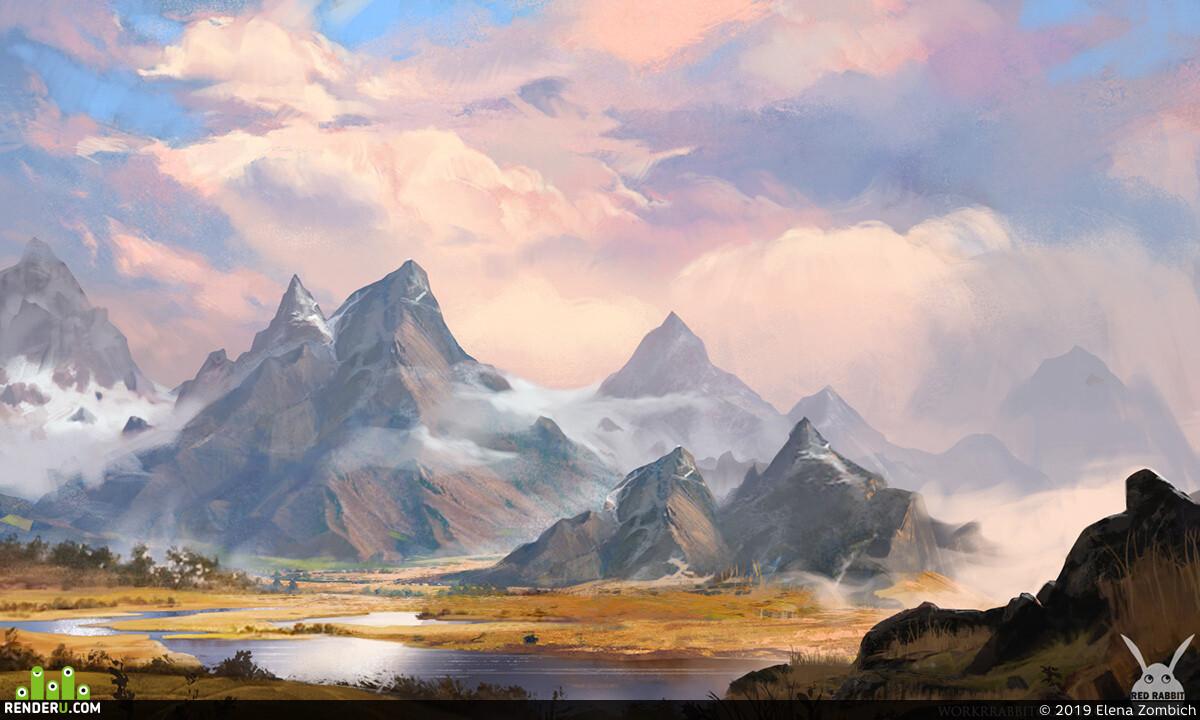 туман. горы., Пейзаж