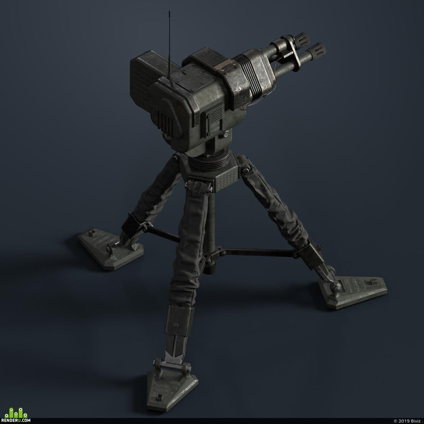 lowpoly, Unreal Engine, Game-ready, PBR, weapons, blender3d, Blender, turret