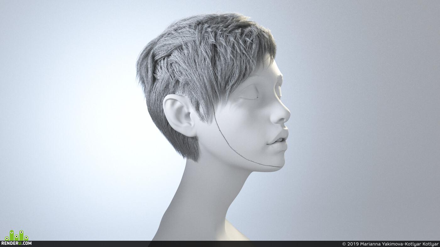 V-ray, female art model, zbrushhair, realistic 3d, ornatrix, v-ray V-ray 3d artist, 3ds Max, Autodesk 3ds Max, Video, lesson
