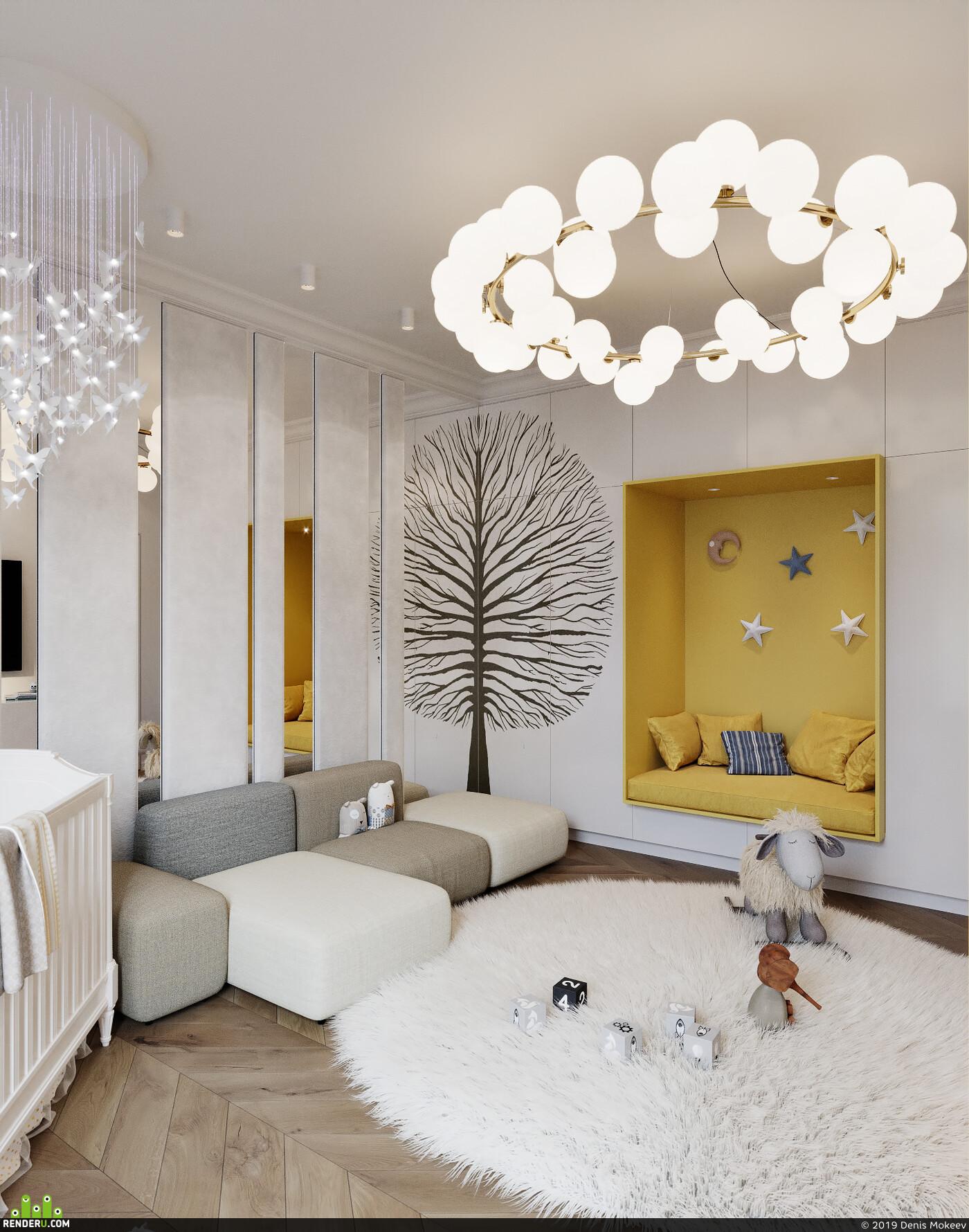 room, Children, bed, sofa, light, Soft, rug
