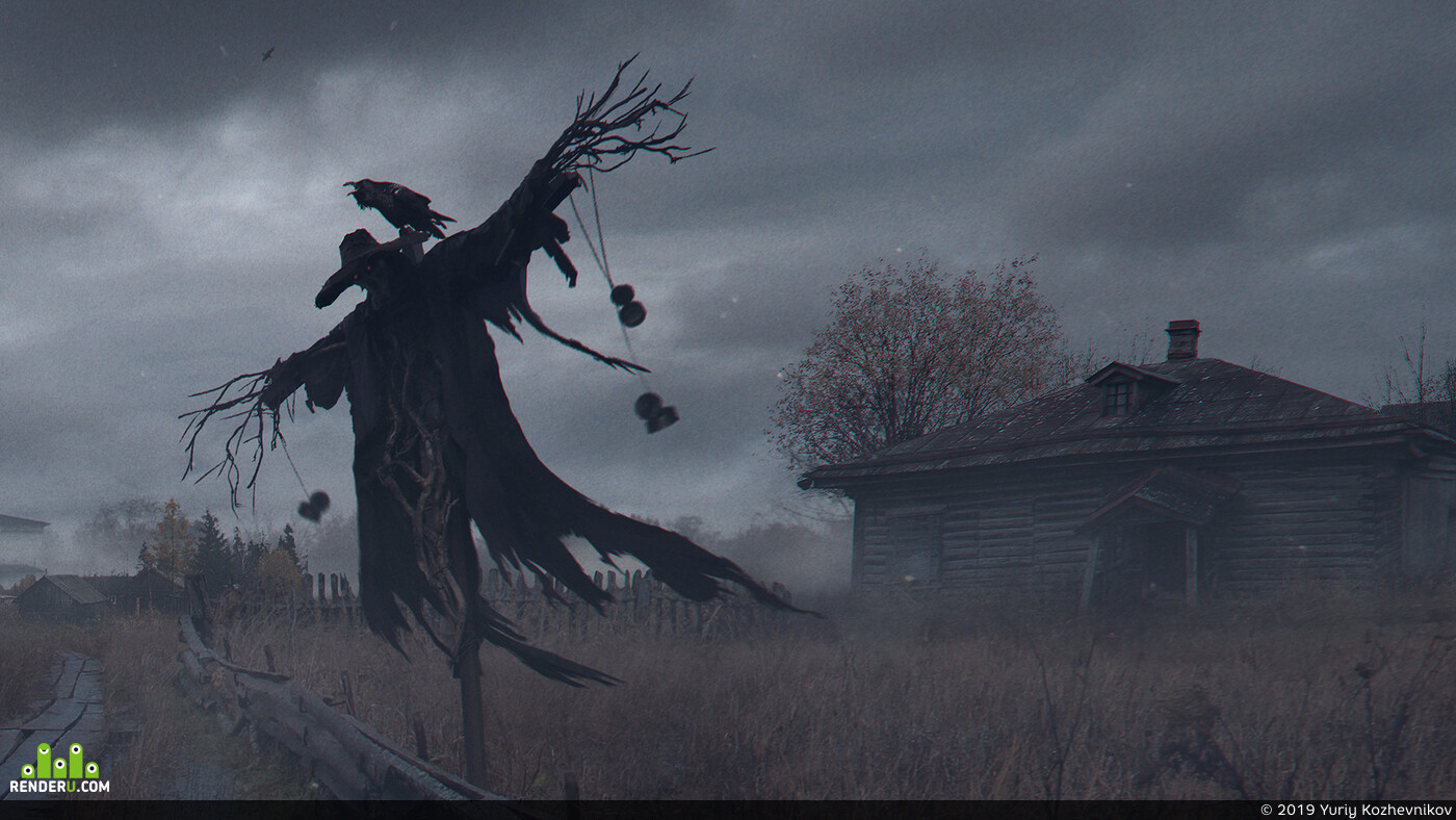 fall, autumn, Horror, old house, scarecrow