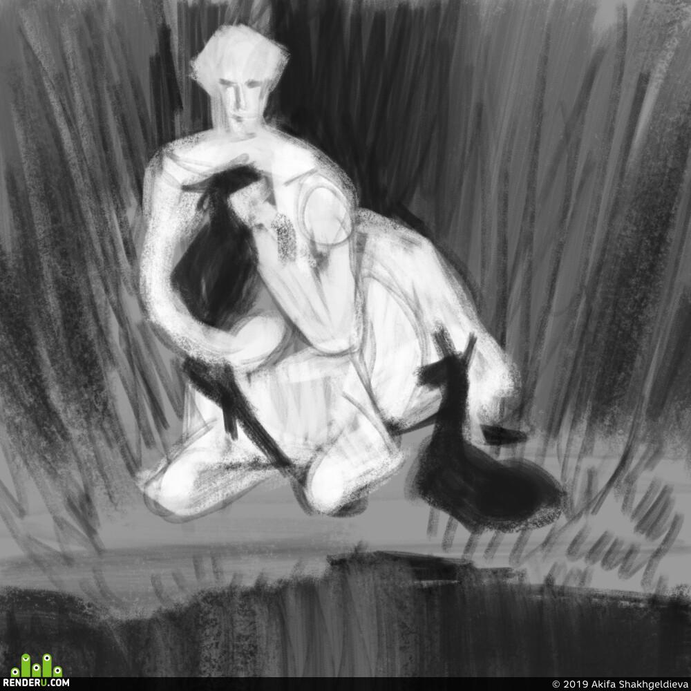 2D, art 2D, centaur, mythology, mythical creature, myth, green, swamp, man, Portrait