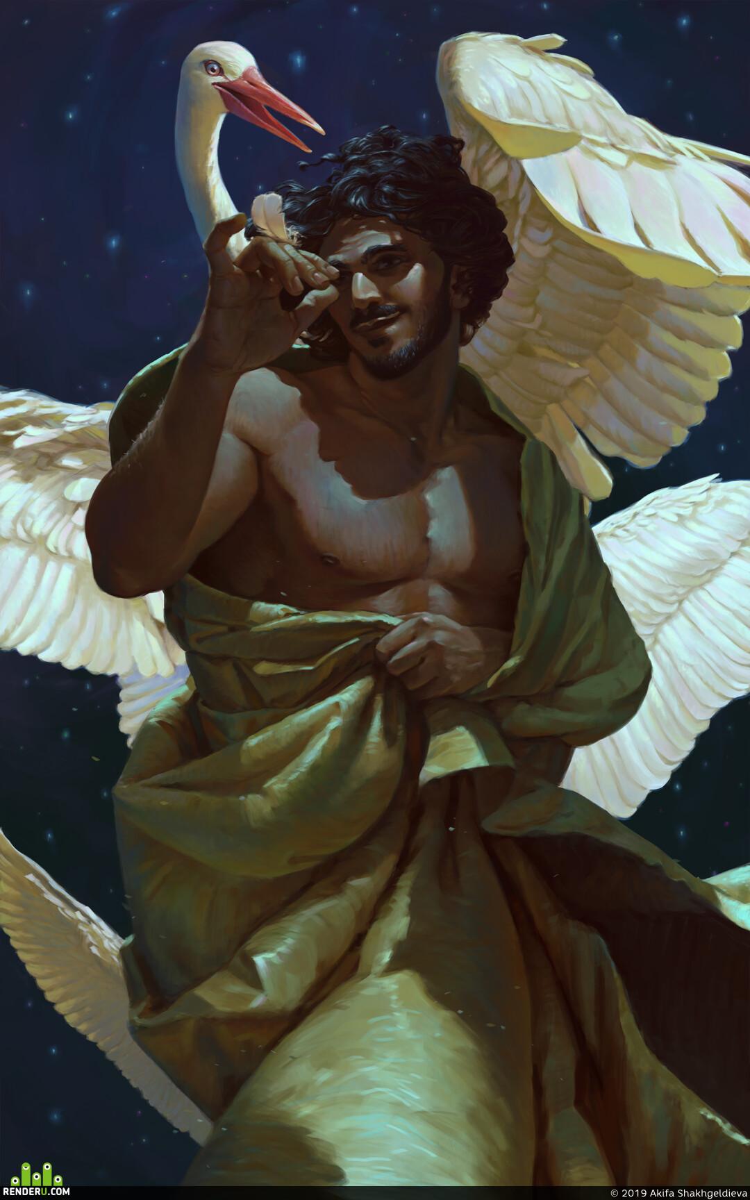 Портрет, концепт персонажа, мужской персонаж, персонаж, птицы, иллюстрация к сказке, иллюстрация, 2д арт, 2д, Восток
