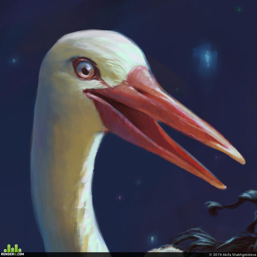 Portrait, character concept, man, character design, fairy tale illustration, illustration, birds, Fairy tale, 2D, art 2D