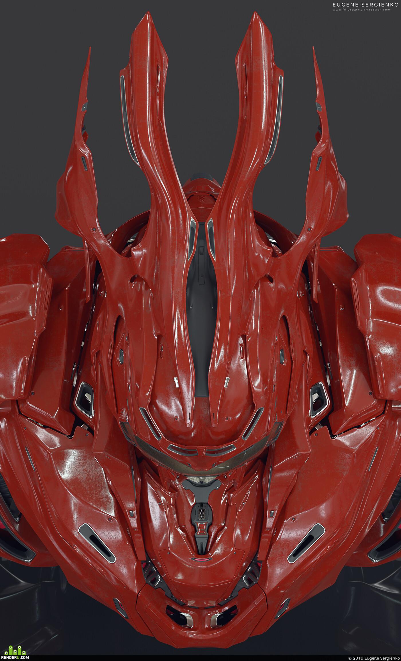 b3d, Blender, skull, game character, Concept art, sci fi armor, design