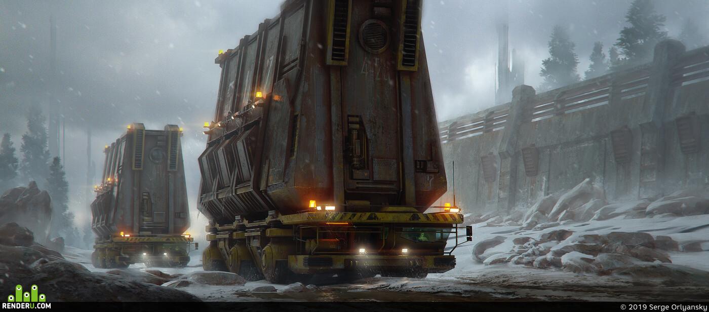 sci-fi,, crawl-track vehicle