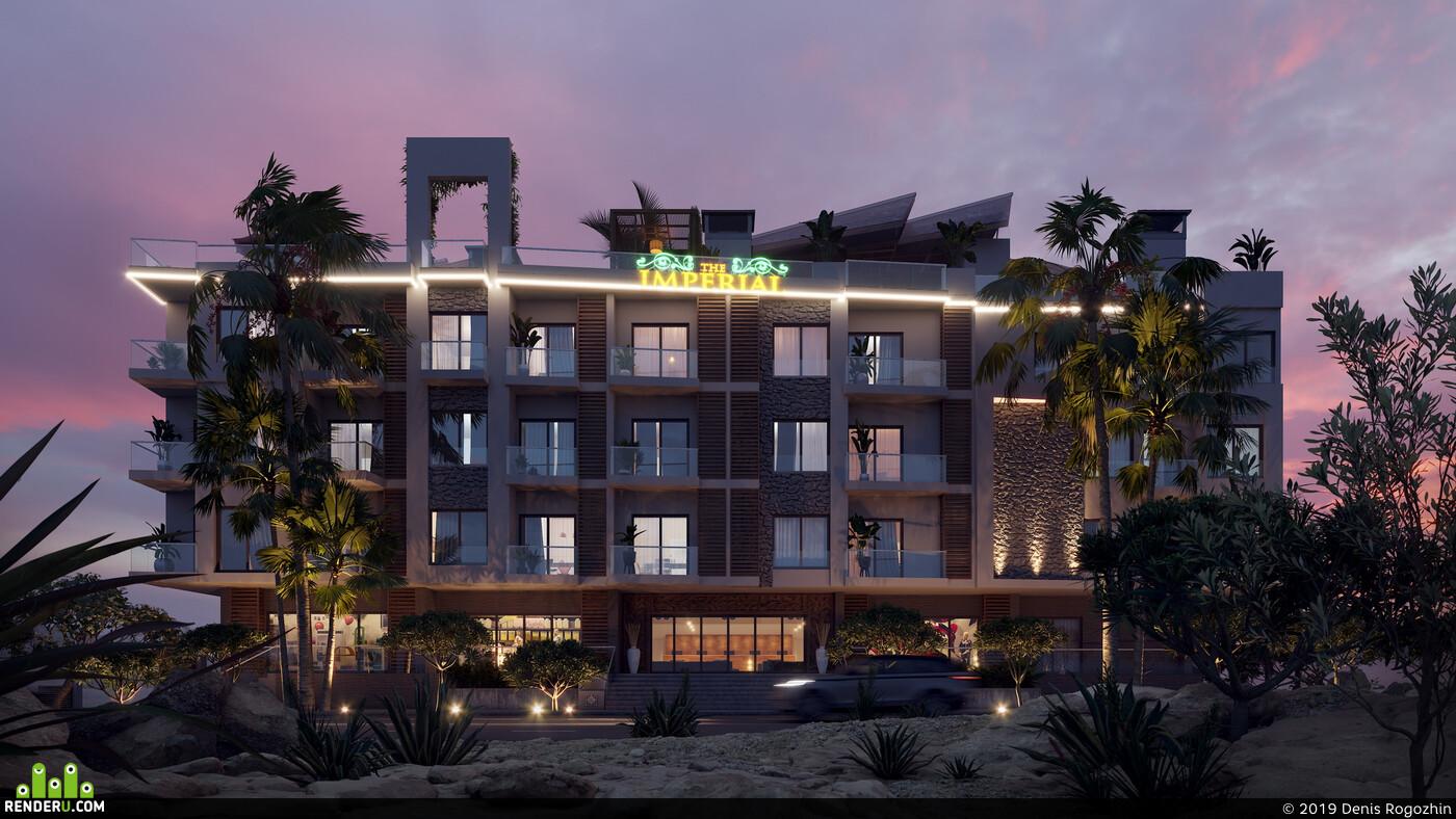 apart, hotel, hurgada, archviz, coronarender, desert, sea, sand, artangle