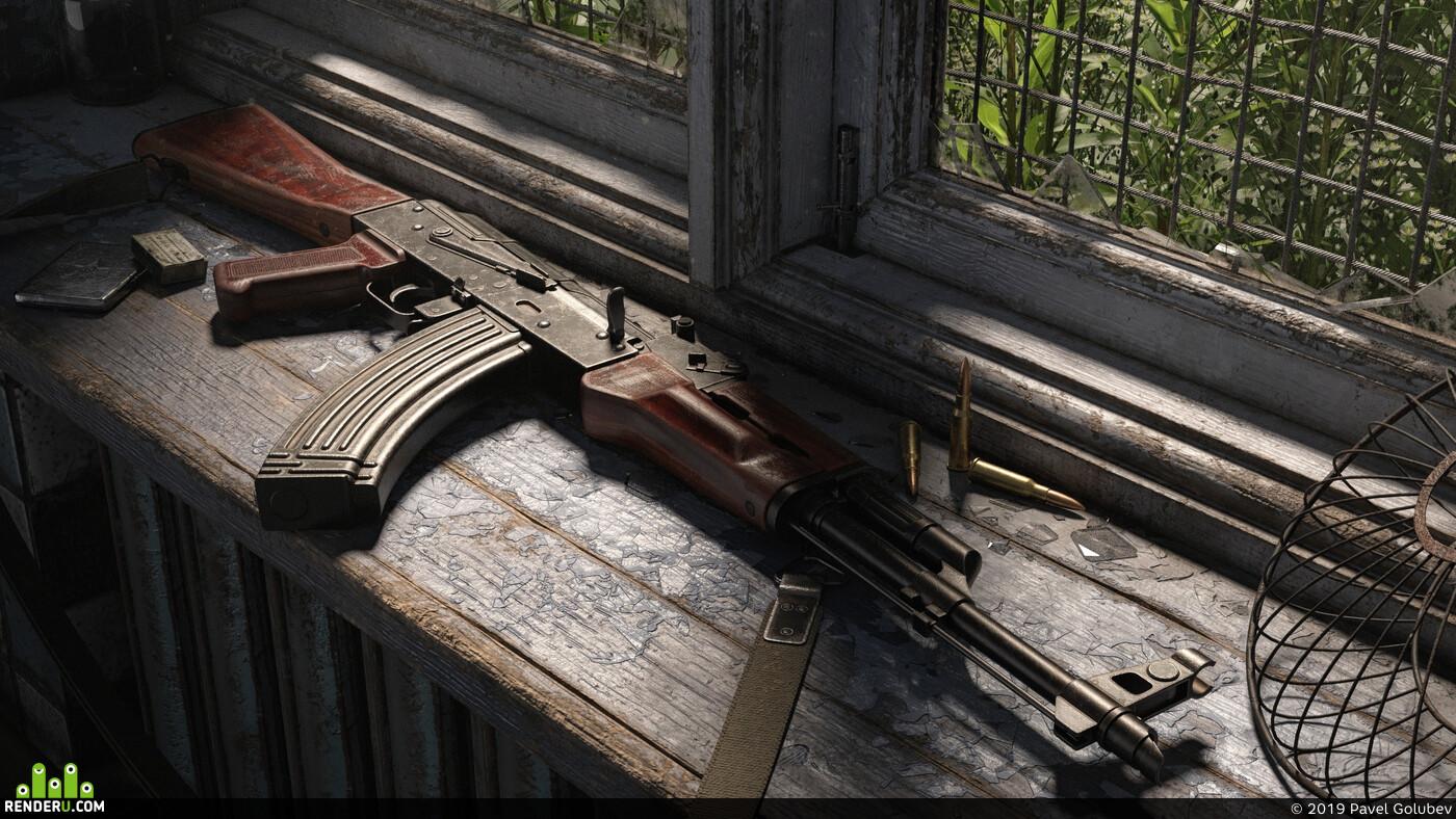 Ak47, weapon, rifle, Blender, environment desighn, textures, volumetrics, cycles