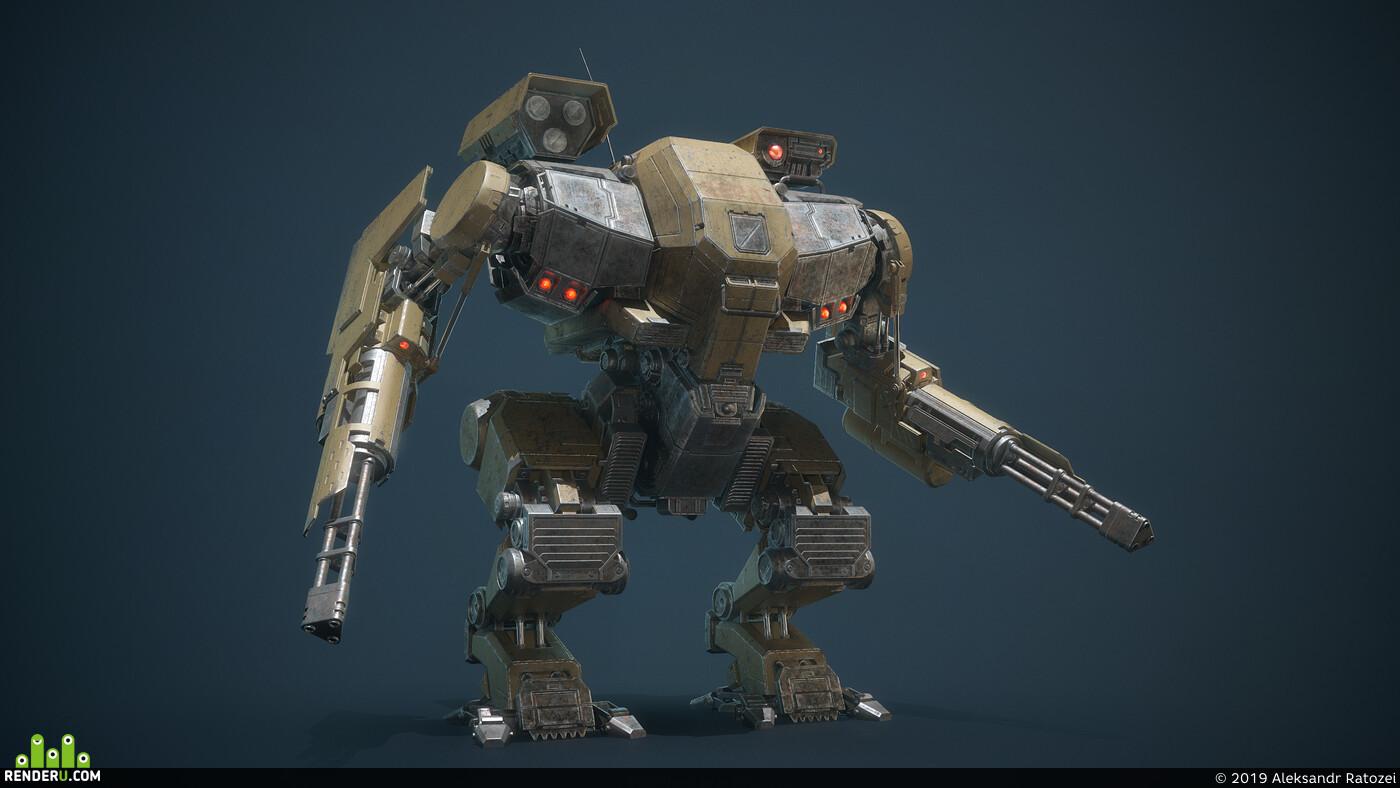 Battle Armor, mecha, Digital 3D, robot, low-poly, hardsurface, Science fiction, game art