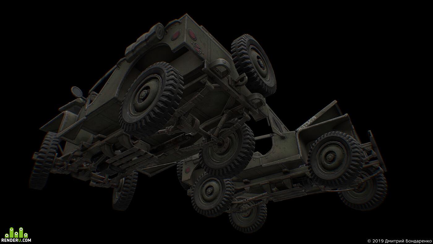 lowpoly, bantam, ww2, truck, Transport & Vehicles, cars, brc40, USA