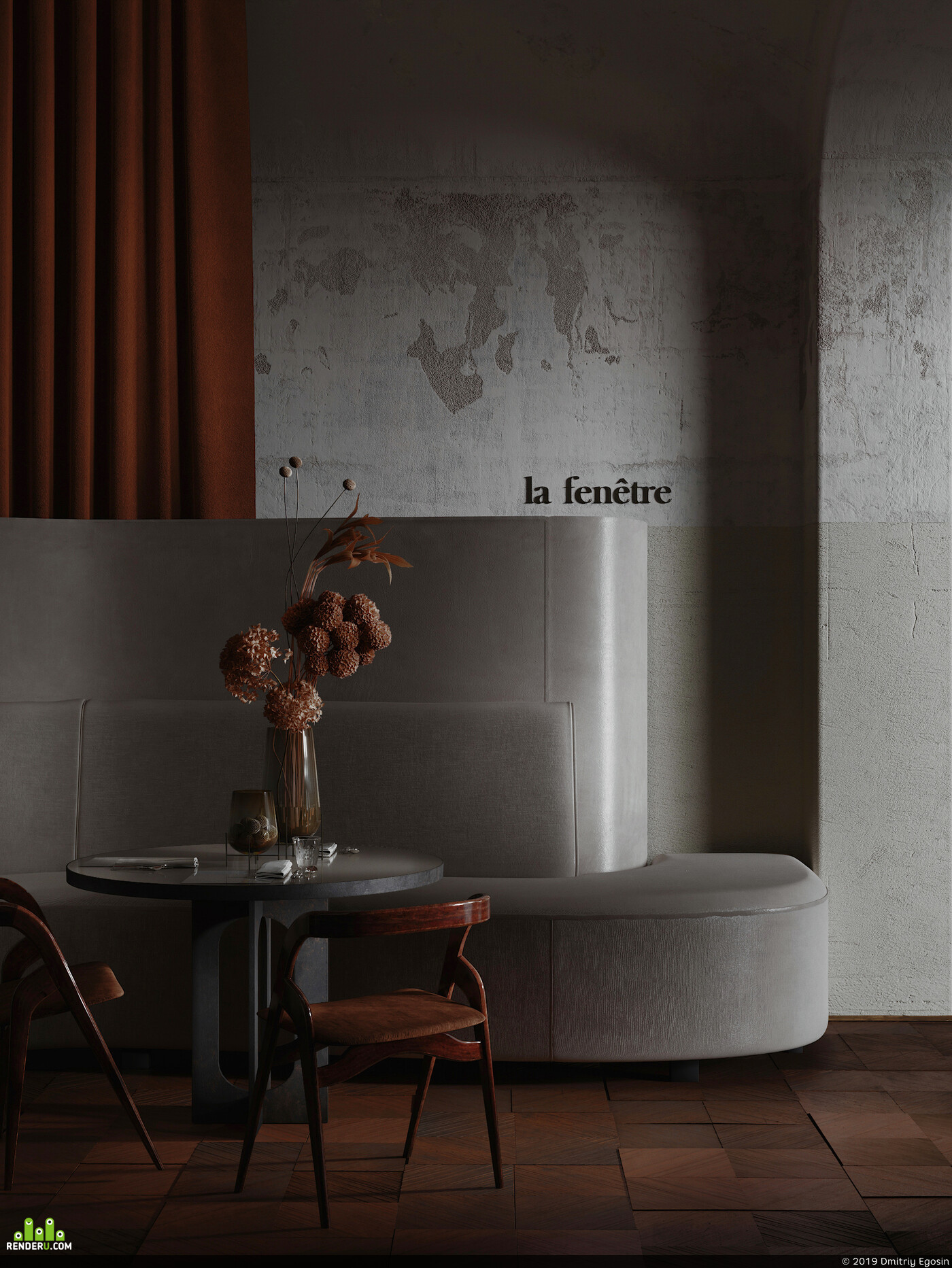 Interior visualization, design, public space