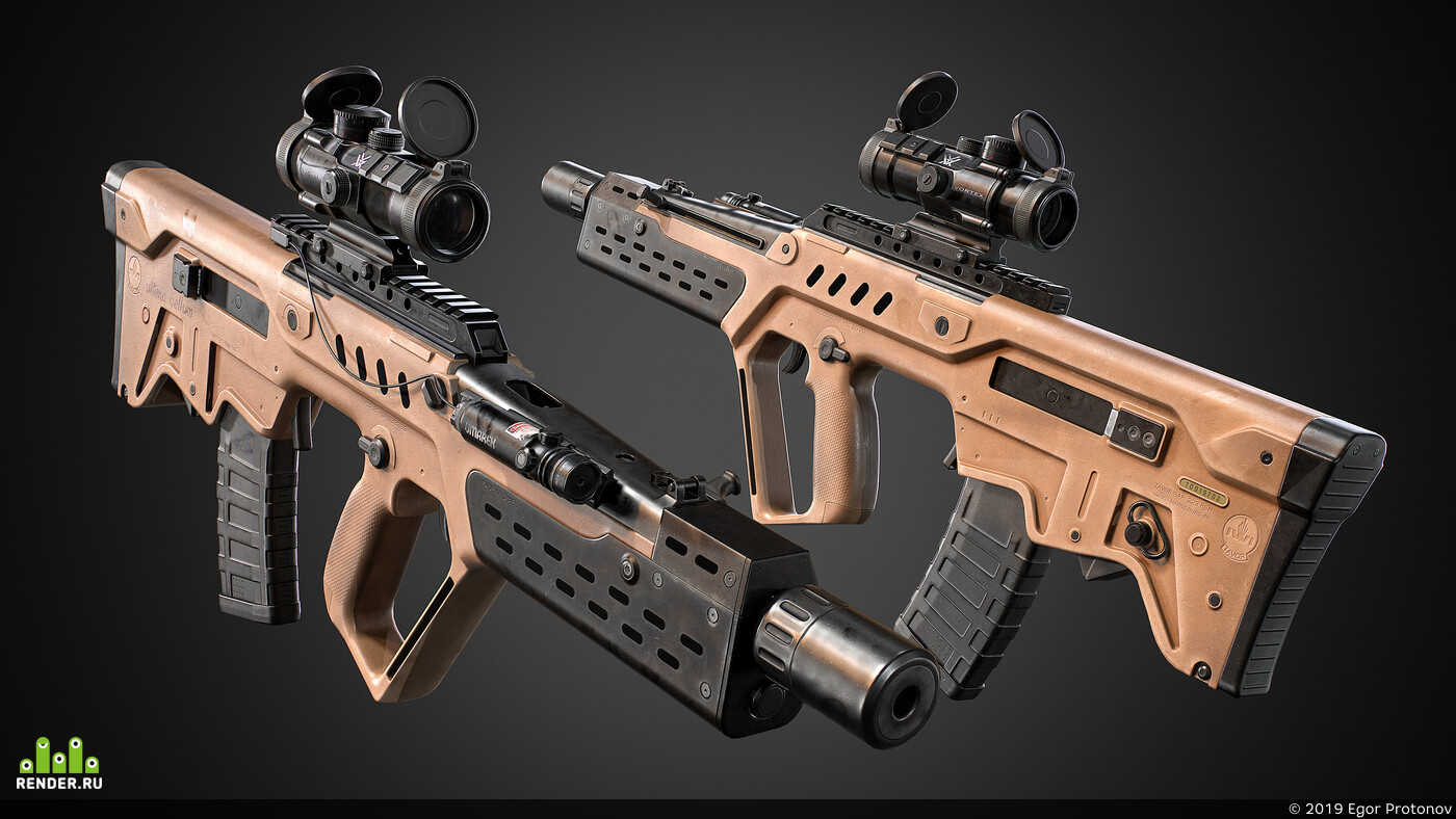 weapon, gun, rifle, CG, PBR, game art, gamedev, tar 21