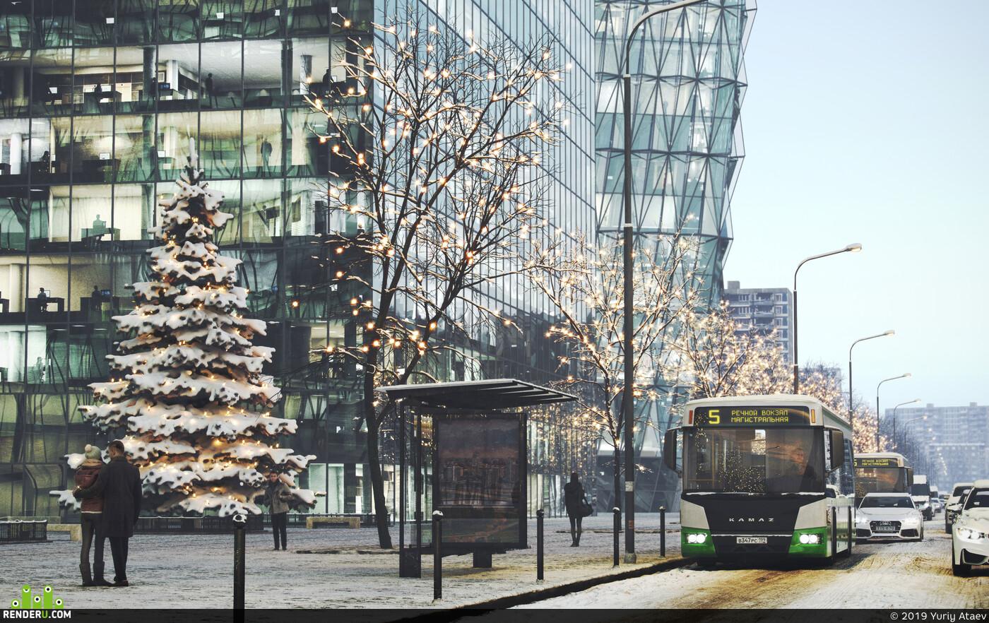 street, winter, snow, evening, Vray, city, photorealistic, rendering, FULL CGI, 3d