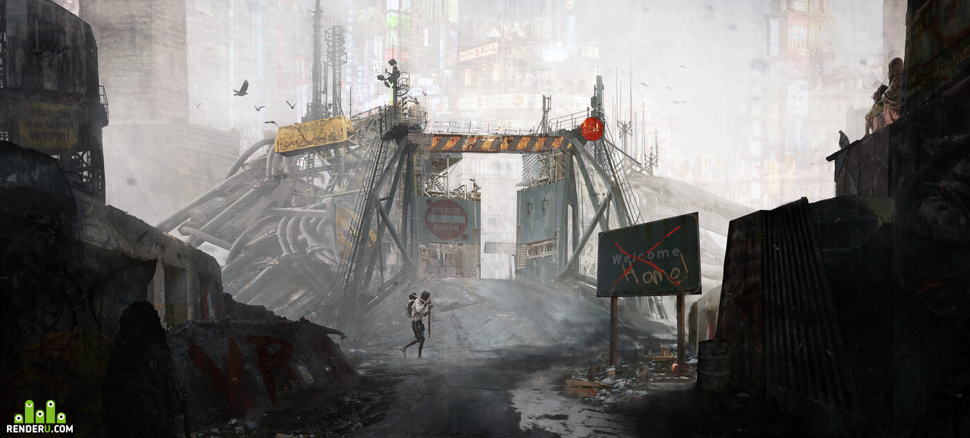 Concept art, Matte Painting, Environments, post-apocaliptic, future, cuberpunk, city, poor people, gate