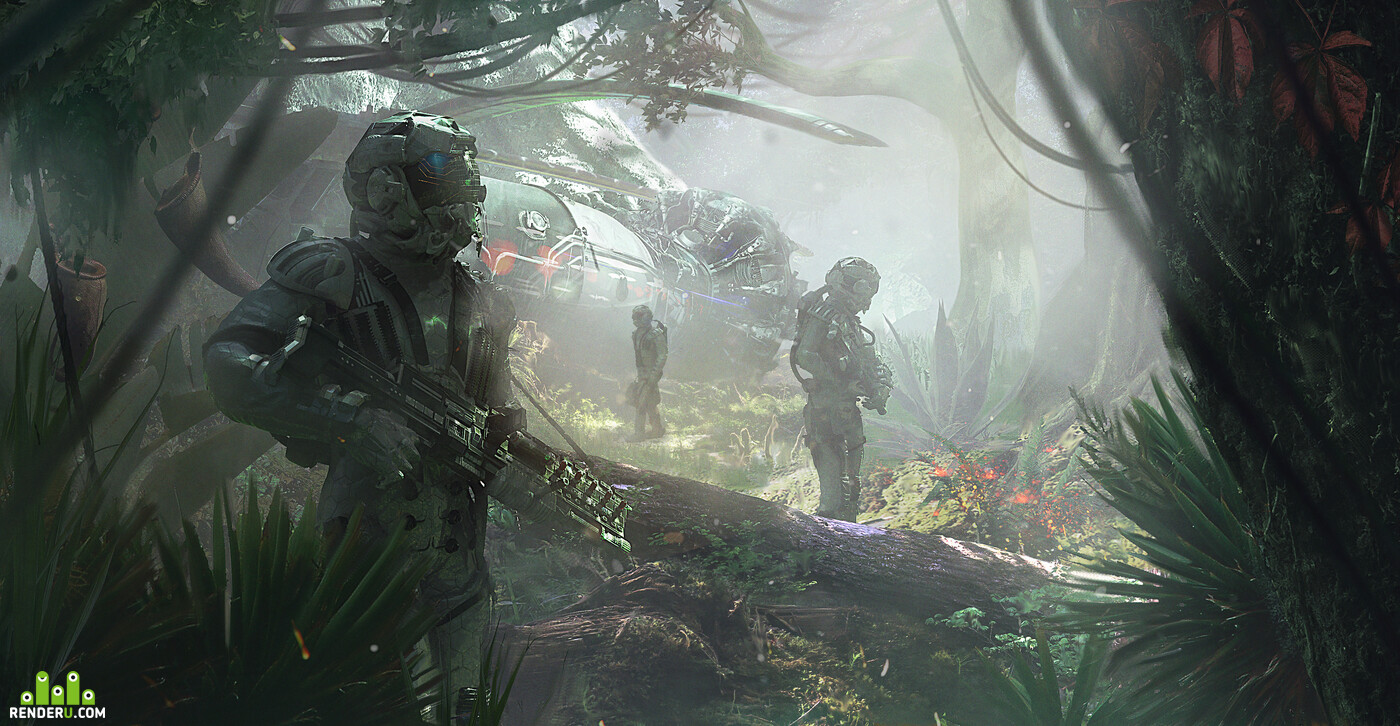 jungle, Spaceship, sci-fi, astronaut, illustration, forest, sunny day, green, another planet