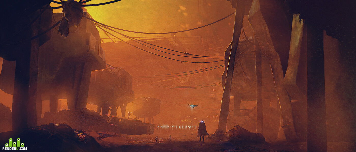 Environments, bladeruner, post-apocalyptic, cyborg, sand, sandstorm, Science Fiction, sci fi