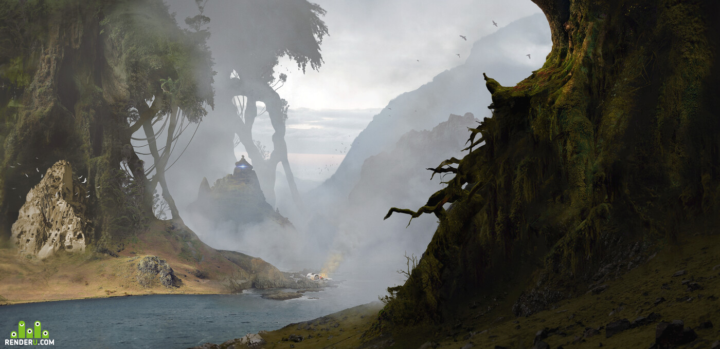 Environments, giant, tree, river, forest, mountains, aliens, spceship, craashed