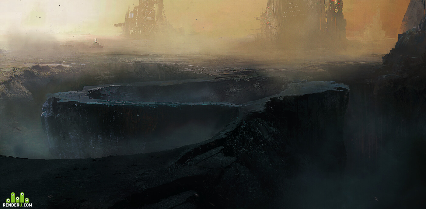 Precipice, future, Science Fiction, scifi, sci-fi, illustration, deep
