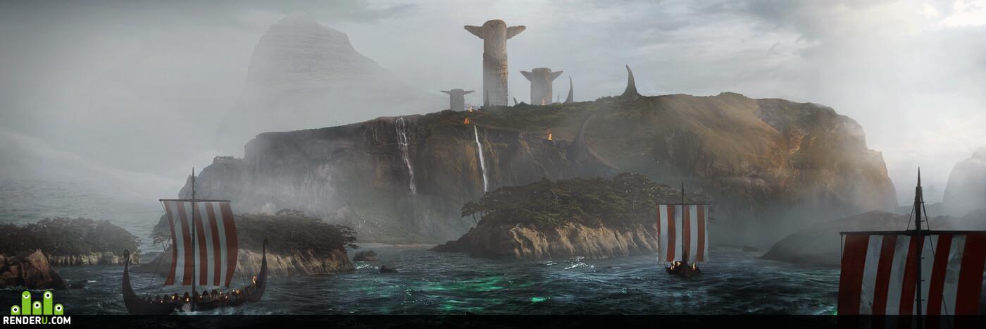 viking, Vikings, totem, ship, island, Fog, drakar