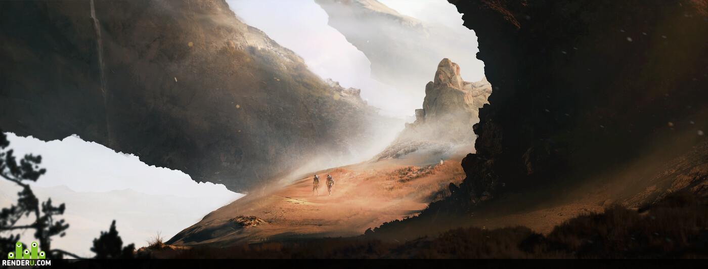 научная фантастика, иллюстрация, астронавты, окружение, горы