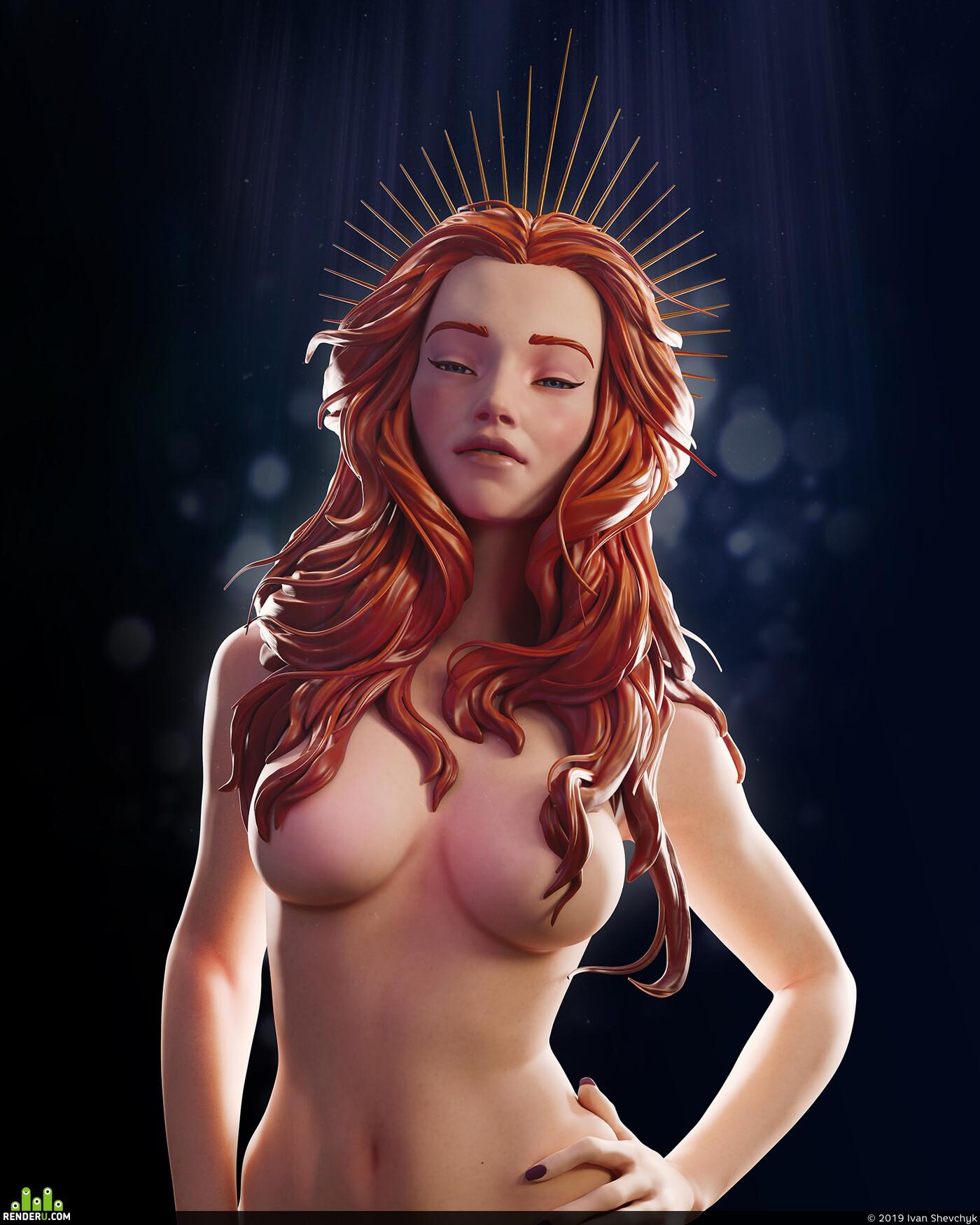 female, girl, stylized, Картун (Cartoon), ZBrush, zbrushhair
