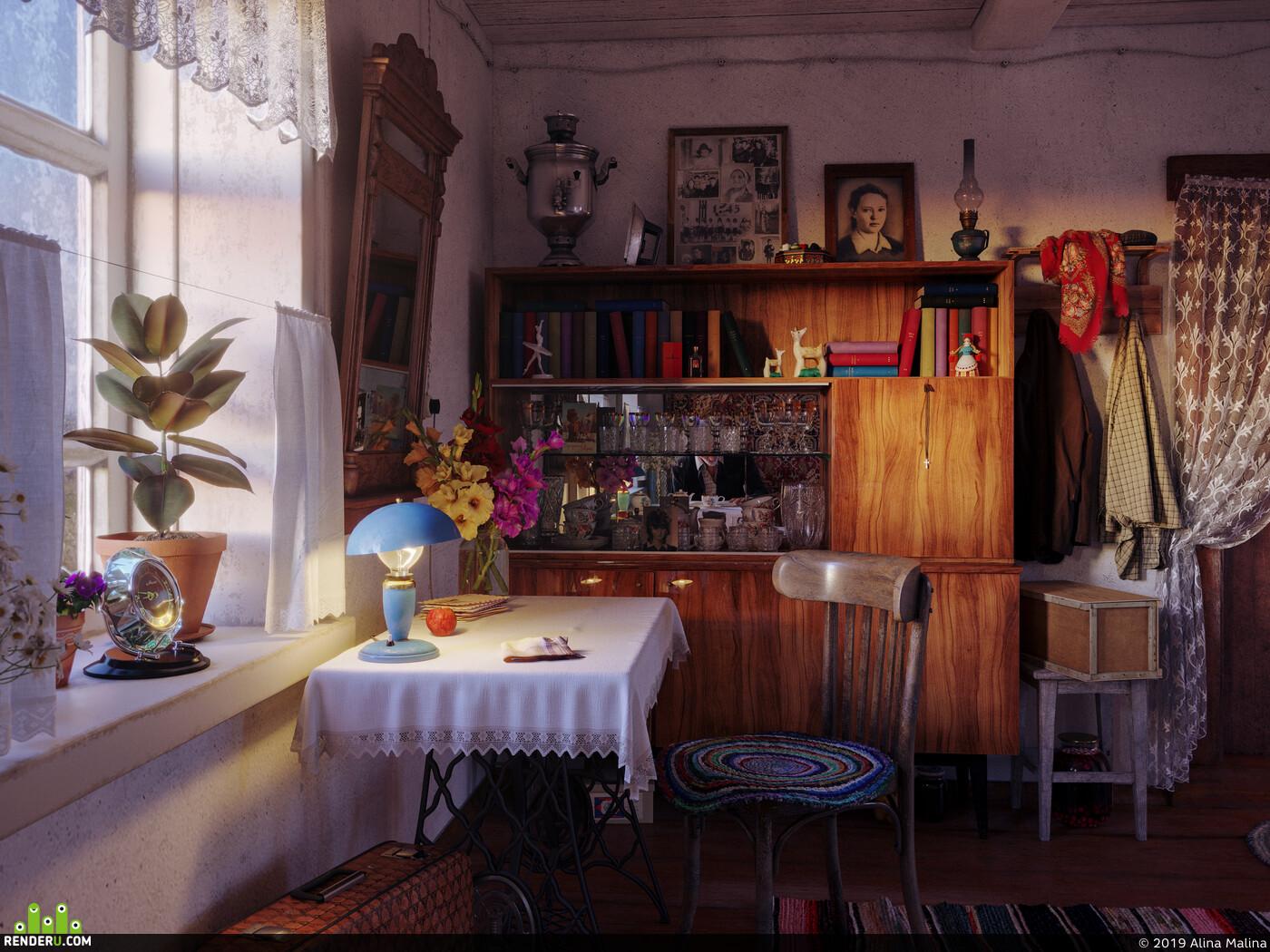 Визуализация, интерьер, бабушка, ссср, ретро