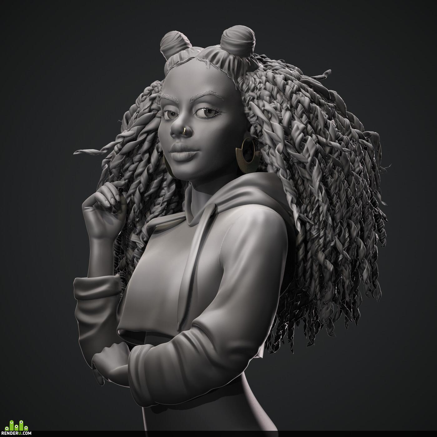 3d girl, portrait girl, sculpt, characterdesign, characterart