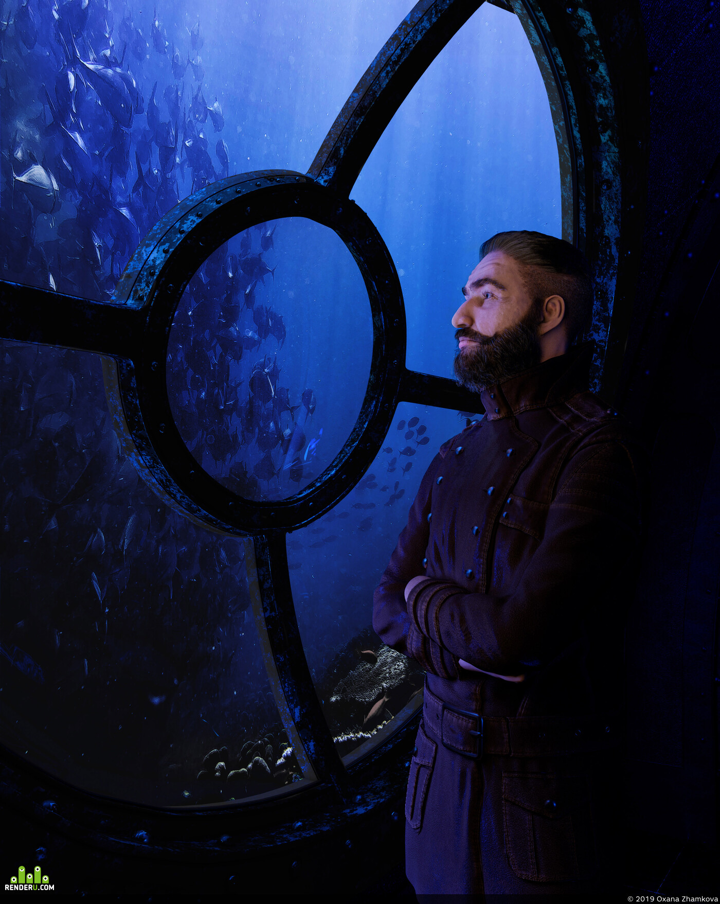 Captain Nemo, nautilus submarine, steampunk