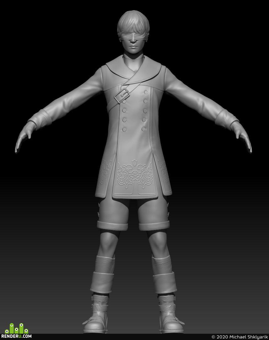 Digital 3D, Characters, Environments, game art, 2B, 9S, nier, Nier:Automata, fanart