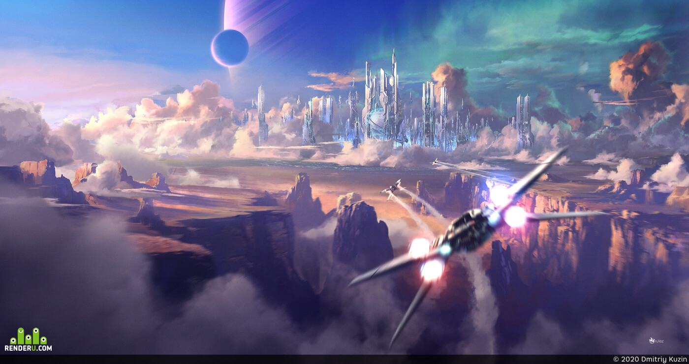 Digital 2D, Environments, Science Fiction, illustration, environment, city, sci-fi, fly, canyon