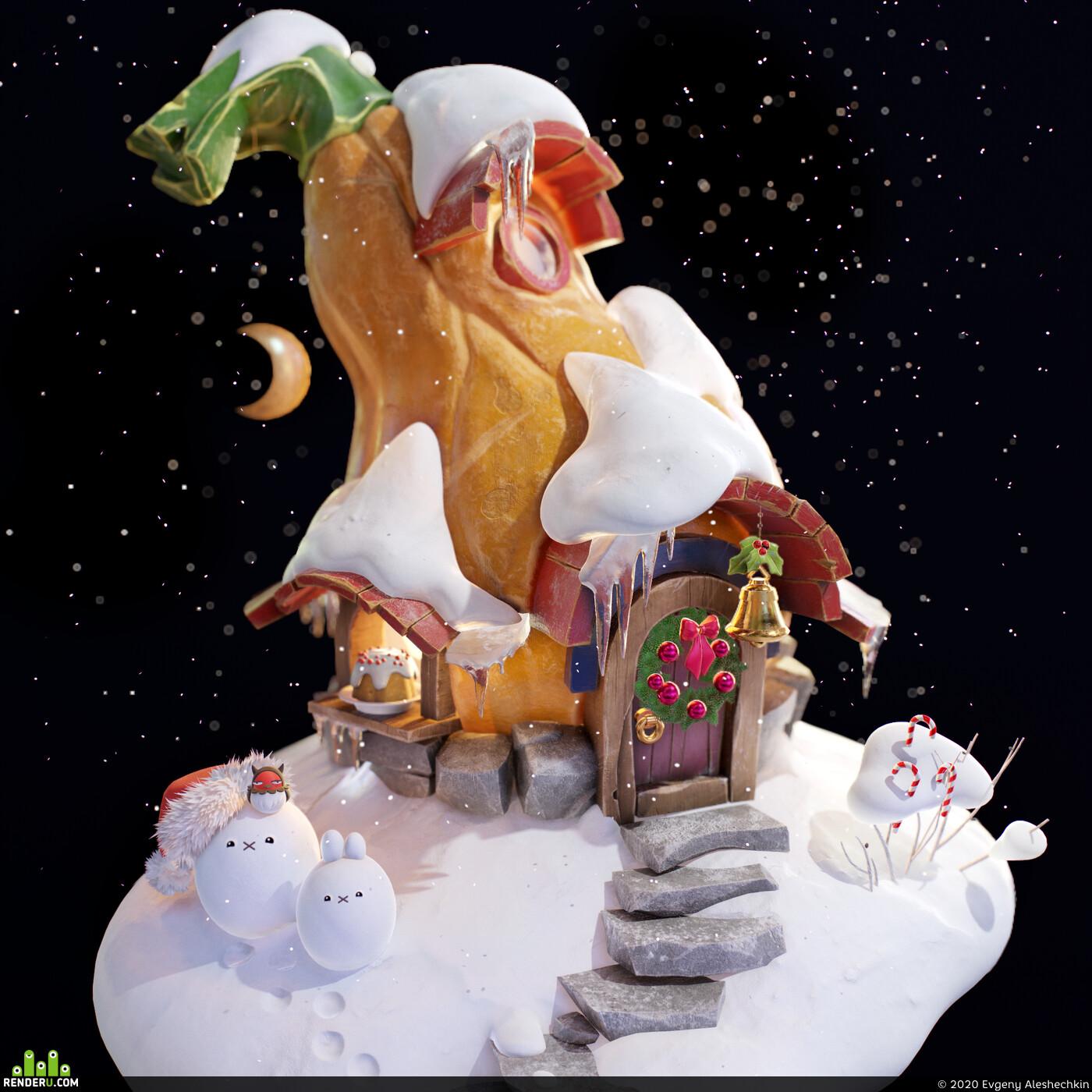 christmas, snow, new year, house