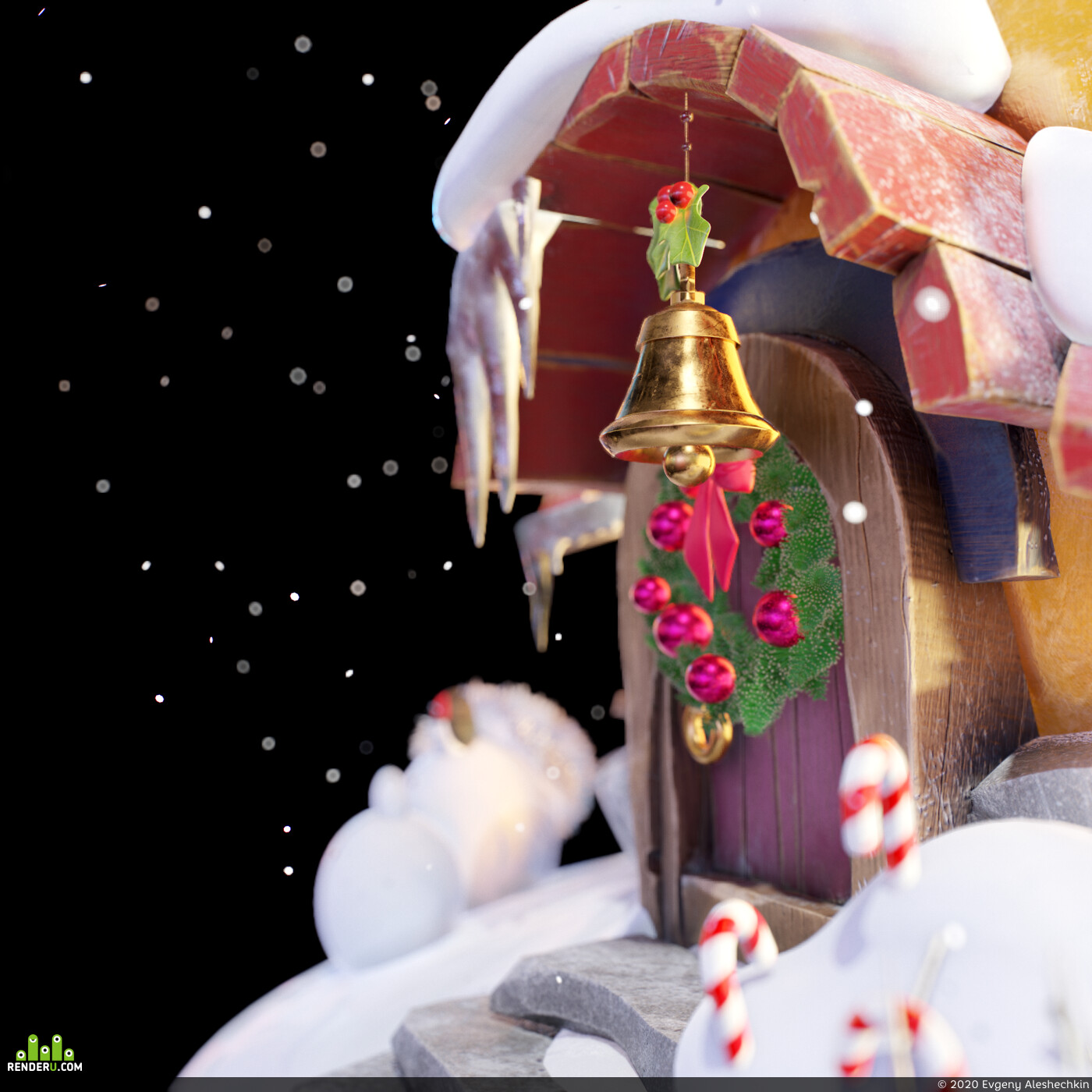 снег, новый год, тыква, дом