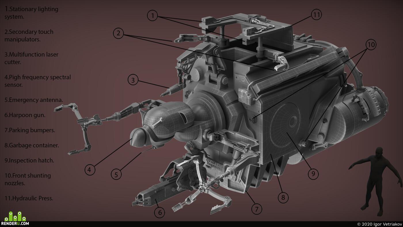 концепт, дизайн, робот, Космос,, дрон