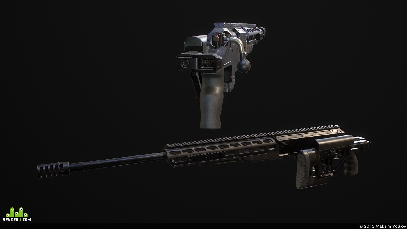 weapons, sniper riffle, PBR, orsis, game, asset