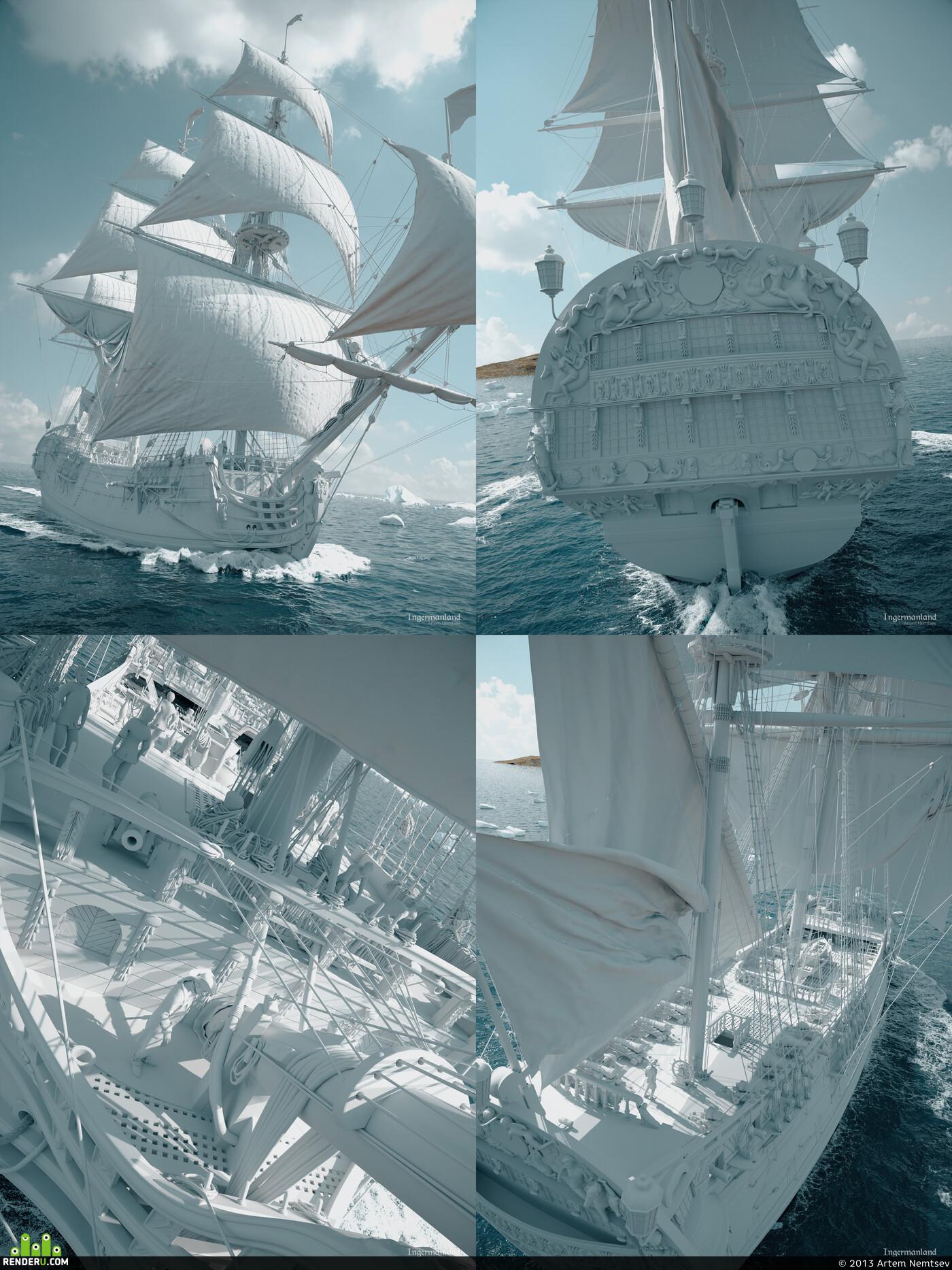3d, sail, ship, boat, ocean, Simulation