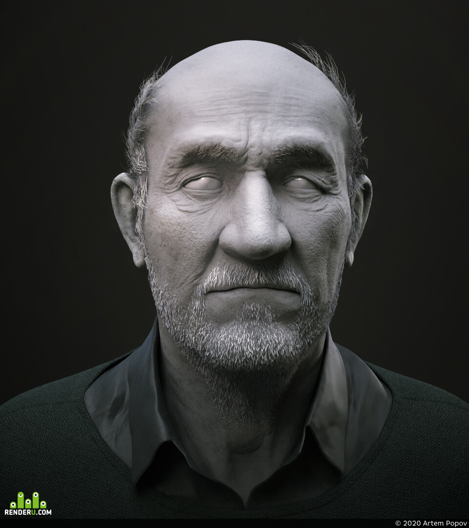 Characters, 3d sculpting, head, male, man