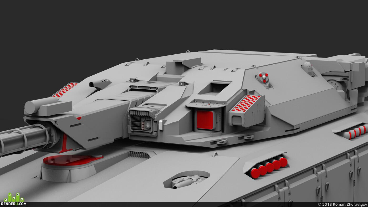 concept, gameart, scifi, design, future, hard surface, tank, ROMANZHURAVLYOV, heavy