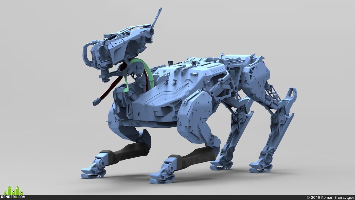 Characters, Concept Art, mecha, ROMANZHURAVLYOV, hardsurface, robot, dron, Engine