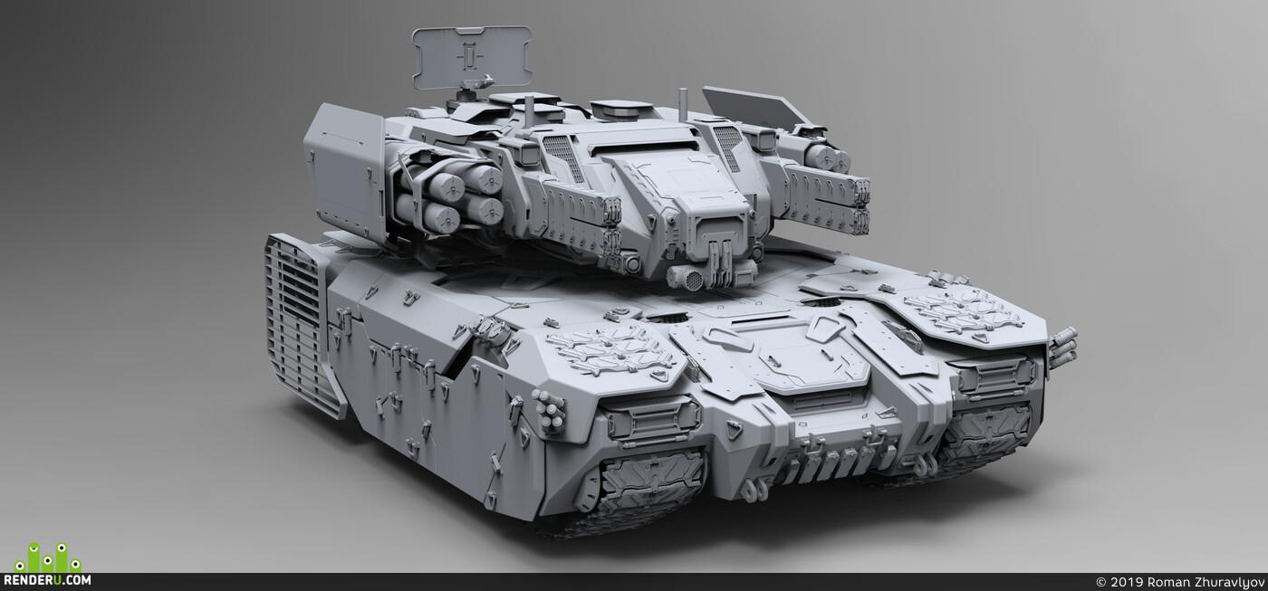 hard surface, tank, weapon, ROMANZHURAVLYOV, concept, Rocket, military, mech, War, design