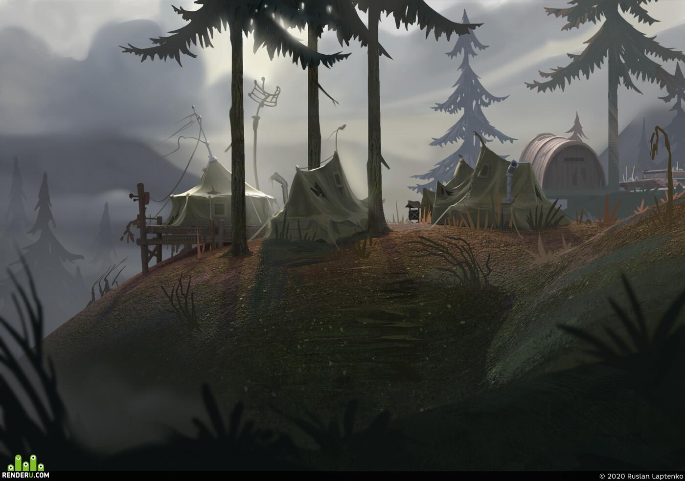 Концепт Арт, полевой лагерь, палатки, заброшенный лагерь