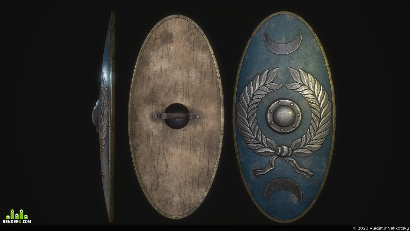 3dmodels, low poly, roman shield, armour, weapons, Legionaries, empire, military base, cetratus, ancient