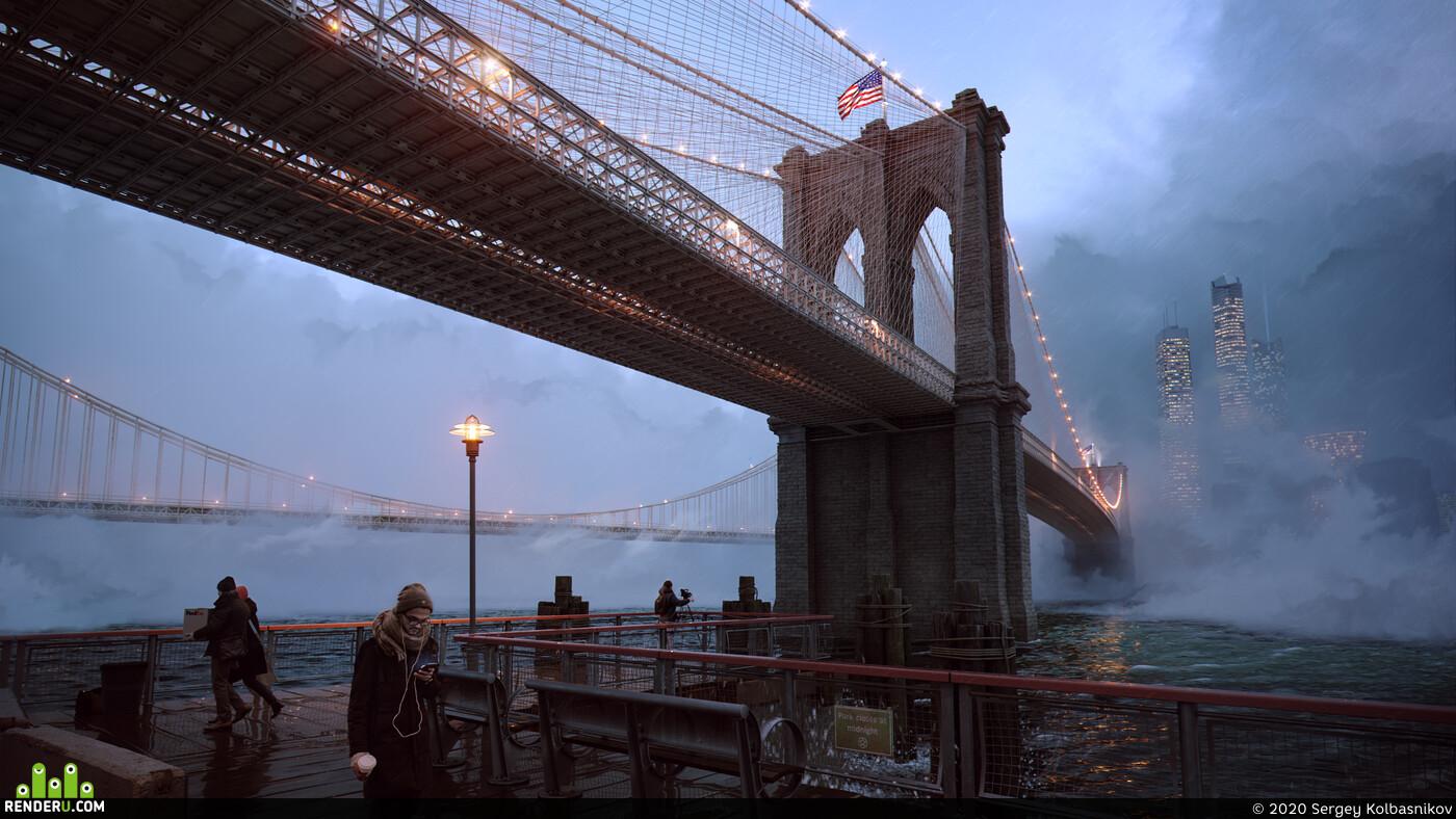 Corona Renderer, newyork, brooklyn, bridge, FULL CGI