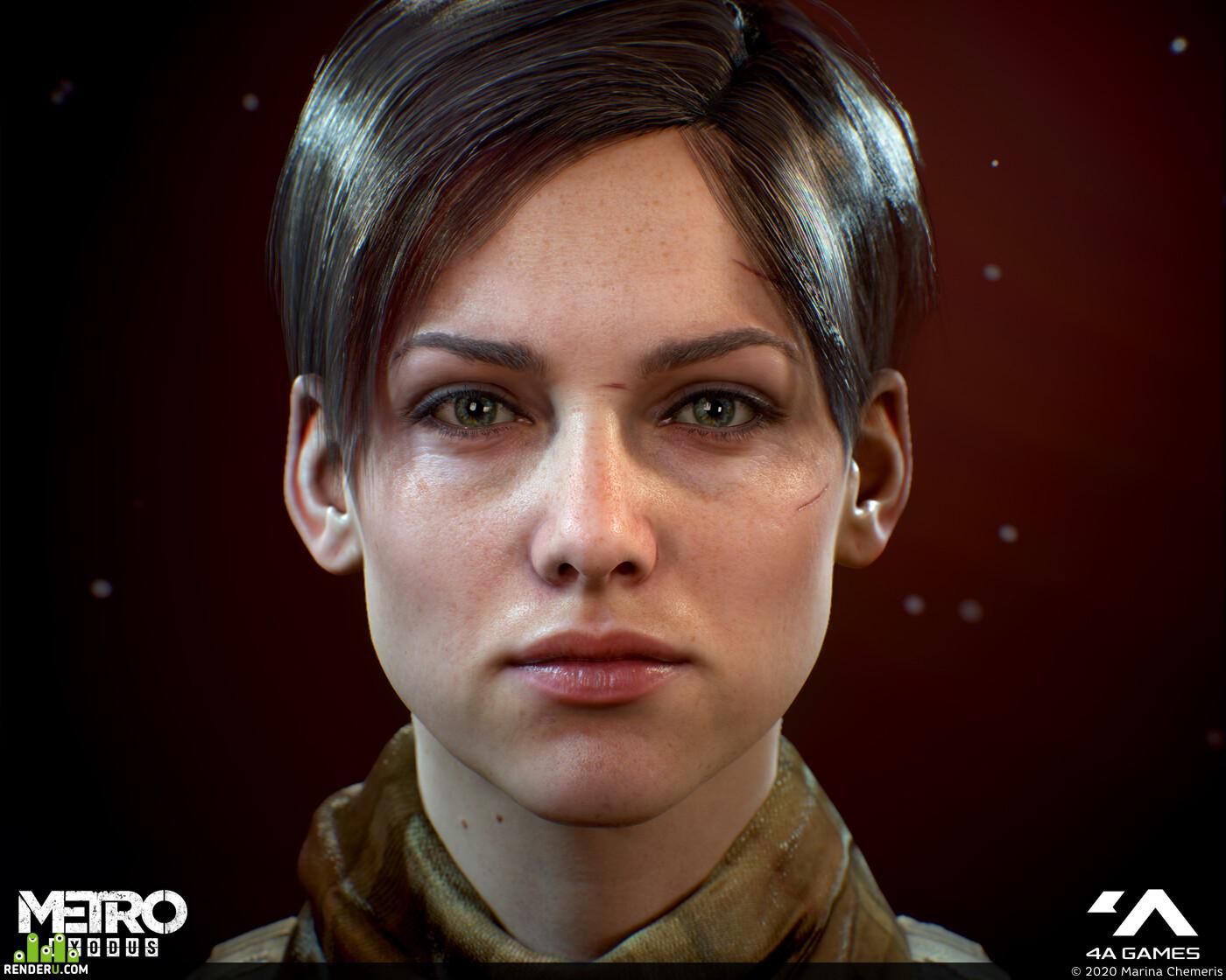3d, Characters, game character, characterart, characterdesign, female character, head, head art, female face, Metro exodus