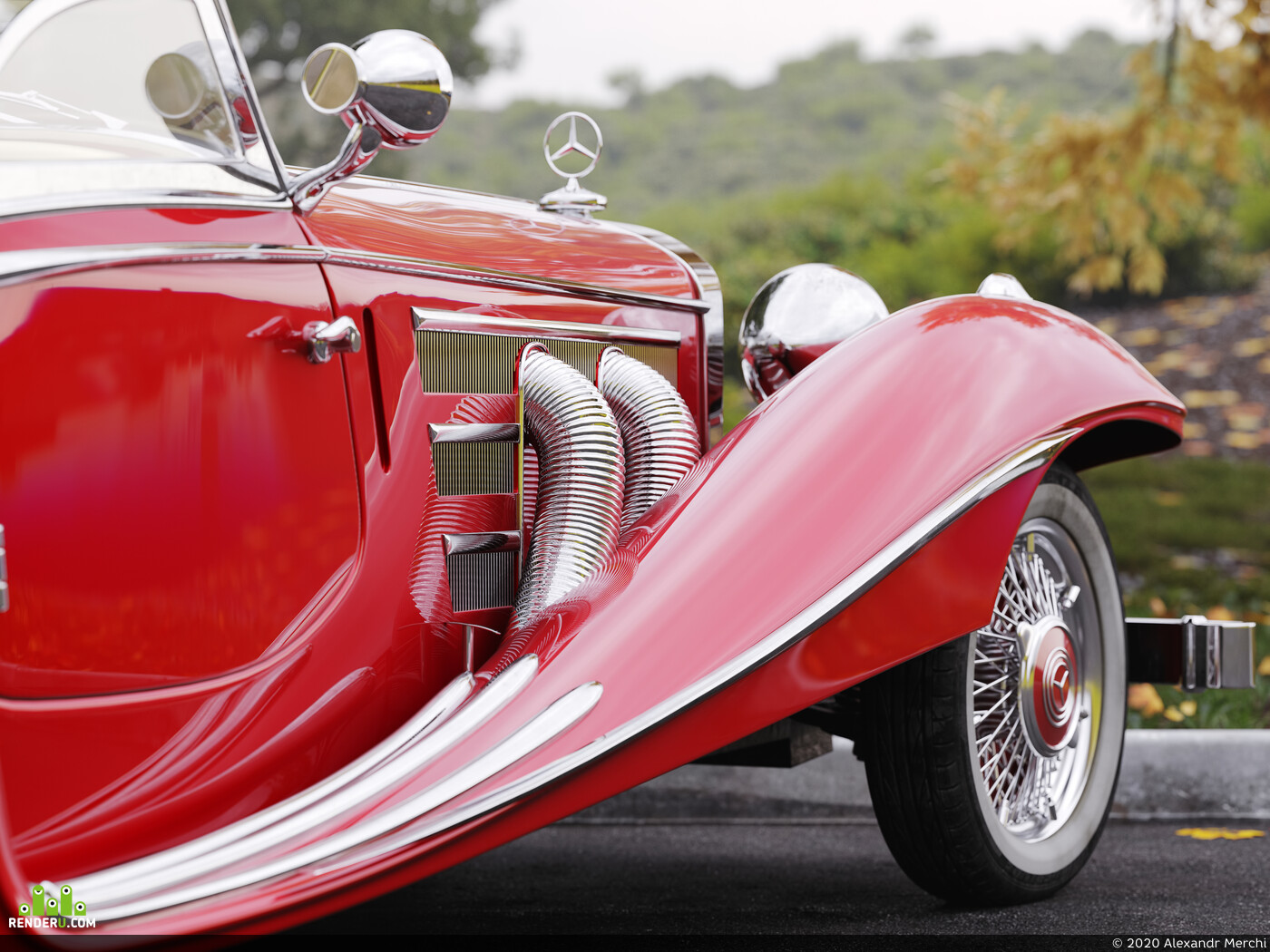 car, mercedes, retro, 540K, Roadster, environment