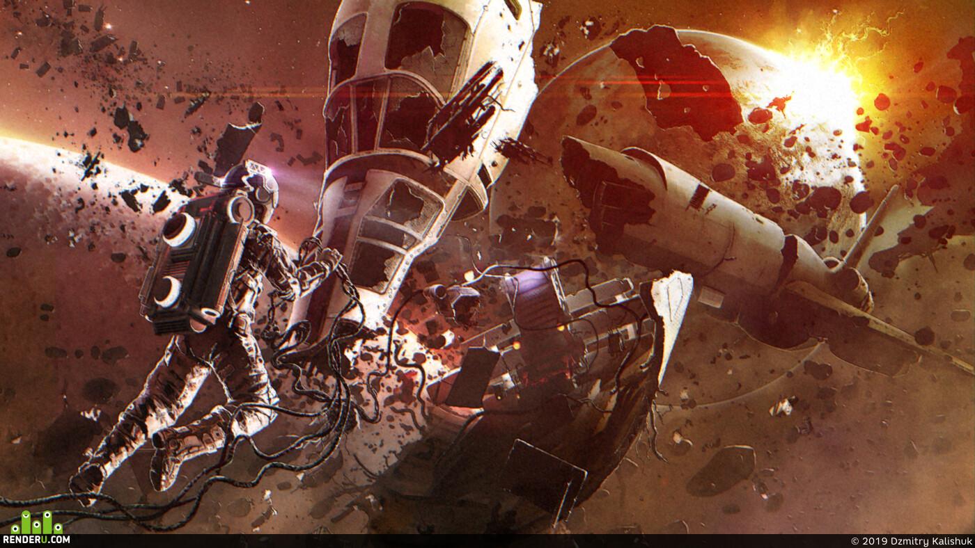иллюстрация, сай фай, научная фантастика, Космос, космические корабли, фотобаш, блокинг