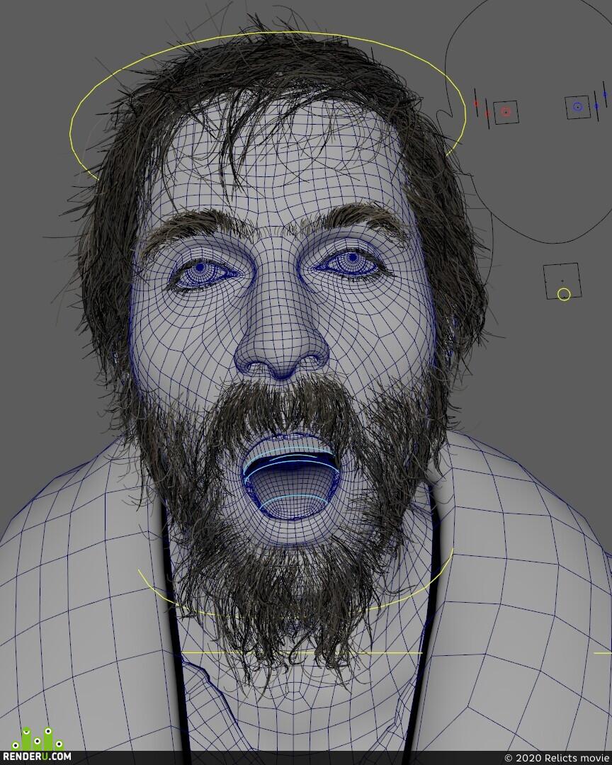Horror, CG, characterart, man, cg hair, 3d, Making of, render, photorealistic, Monster