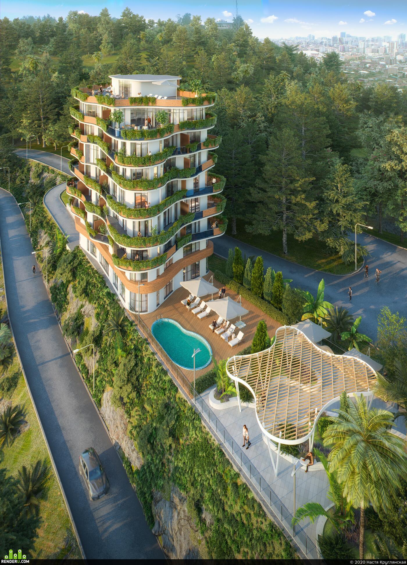 cgi, archviz, rendering, visualization, Exterior, landscape, forest, mountains, hotel, sea
