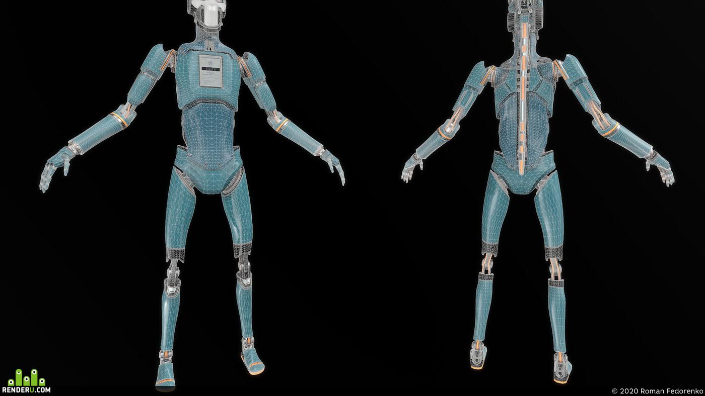 robot, cyborg, Character, humanoid, mech, робот