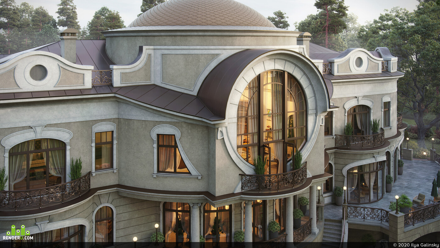 house visualization, 3ds Max, Corona Renderer, Adobe Photoshop, Exterior, archviz, art nouveau